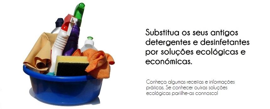 Detergentes, desinfetantes e produtos de limpeza ecológicos