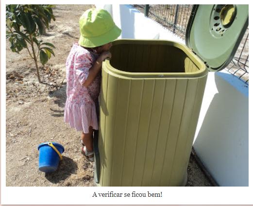 Jardim de Infância da Afeiteira continua o excelente trabalho com o compostor Re-Planta!